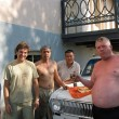 Quick service with some mechanics in Nukus, Uzbekistan. The small bowl contained vodka